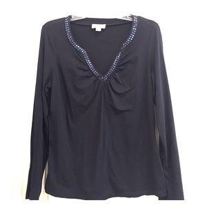 Ann Taylor Loft Long Sleeve Sparkly T-Shirt Blk Lg